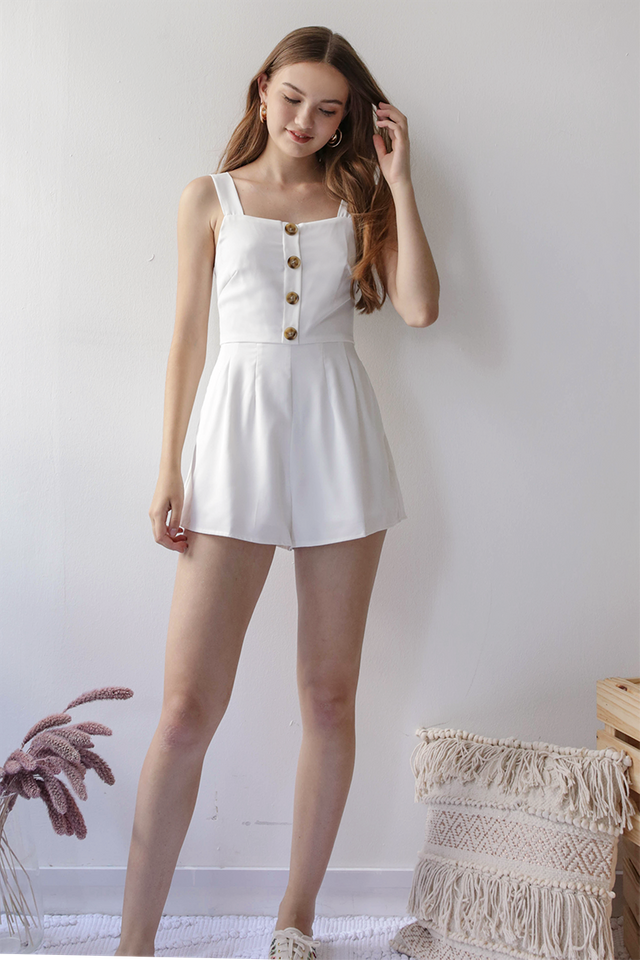 Lianne Button Romper (White)