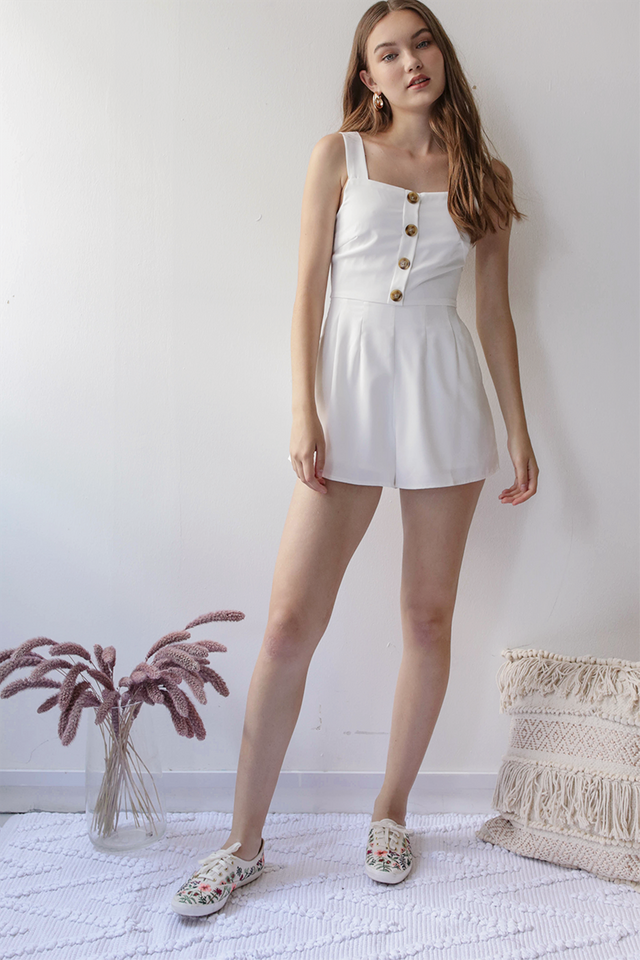 Lianne Button Romper (White)
