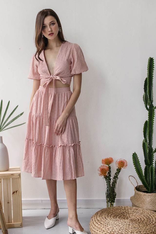 Beverly Tiered Skirt (Pink Eyelet)