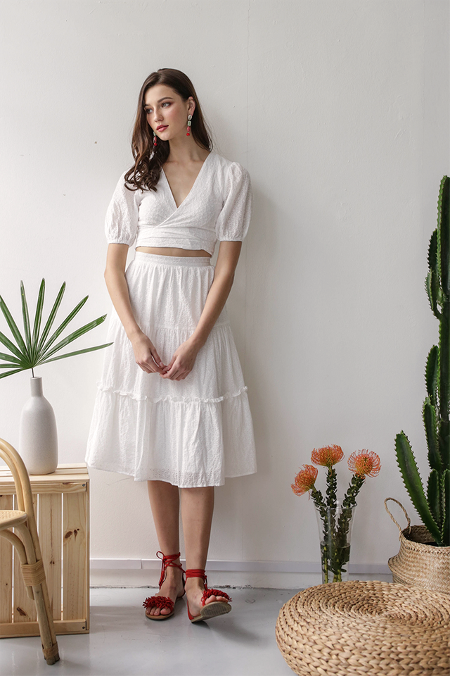 Beverly Tiered Skirt (White Eyelet)