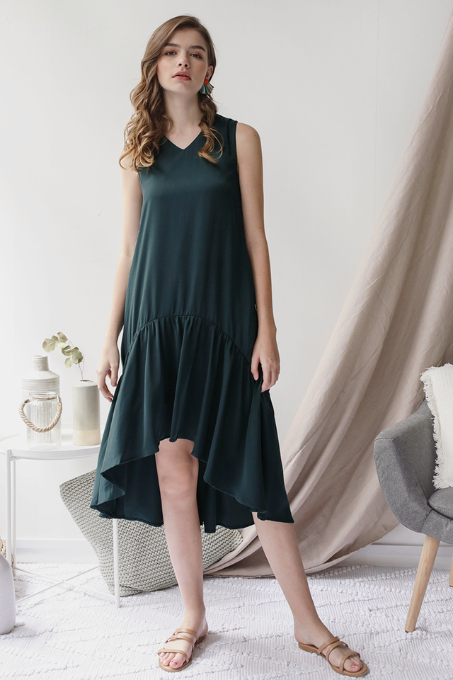 Gia Fishtail Dress (Forest Green)