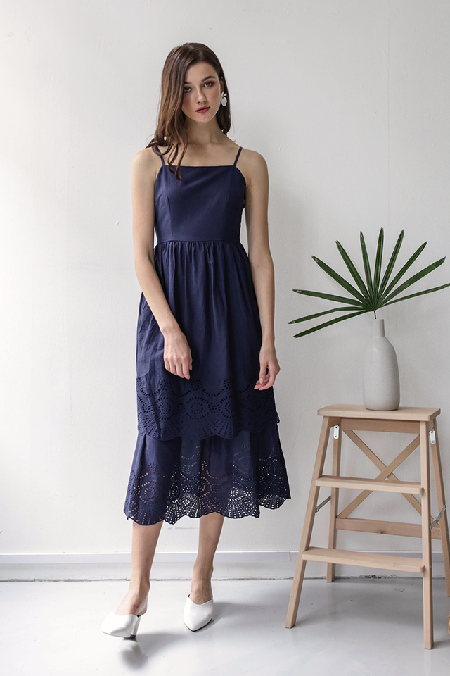 Kim Tiered Dress (Navy Eyelet)
