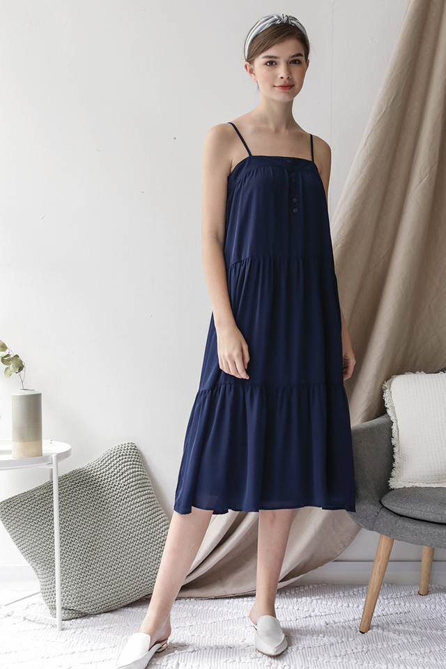 Frida Midi Dress (Navy)