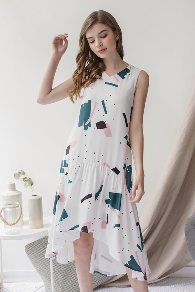 Gia Fishtail Dress (Abstract)