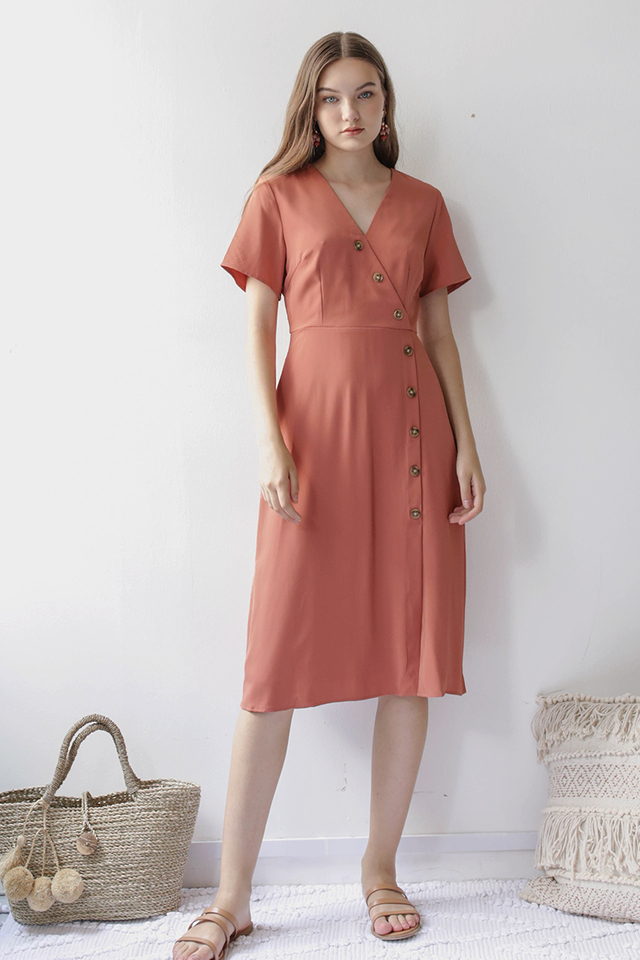 Mag Sleeved Button Dress (Dusty Coral)