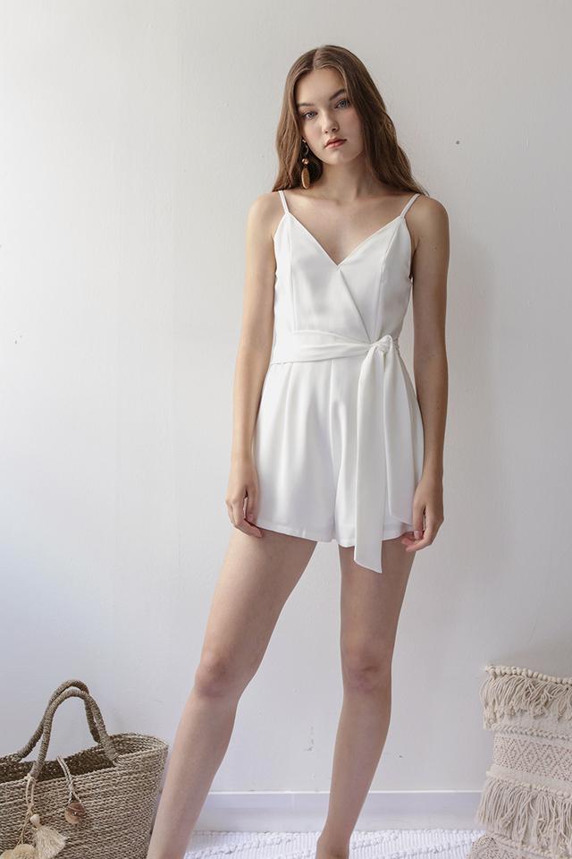Karla Wrap Front Romper (White)