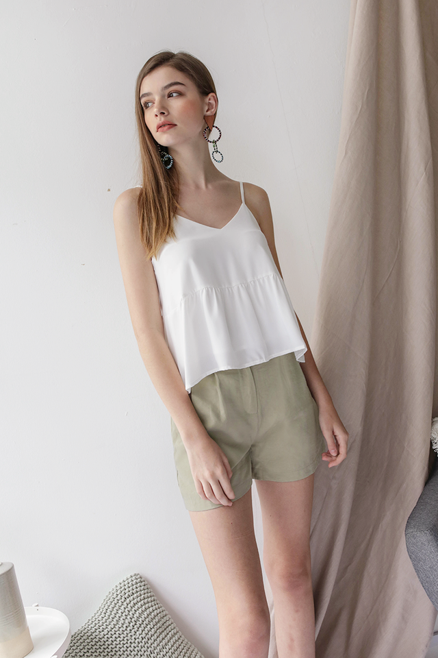 Oda Button Shorts (Sage Green)