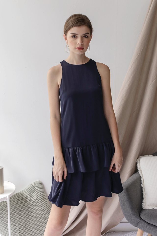 Elly Tiered Dress (Navy)