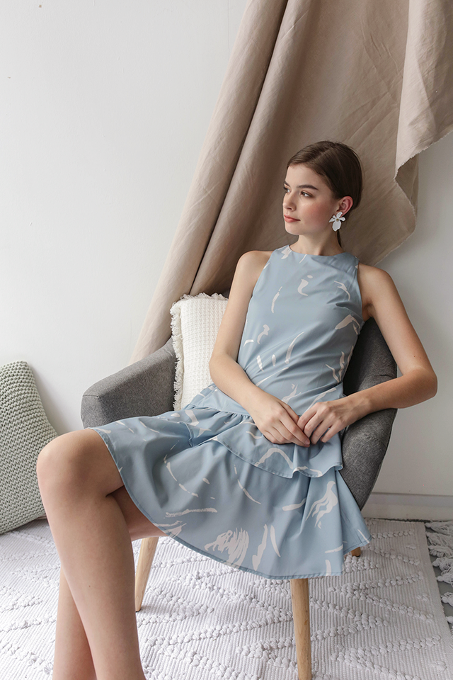 Elly Tiered Dress (Blue Abstract)