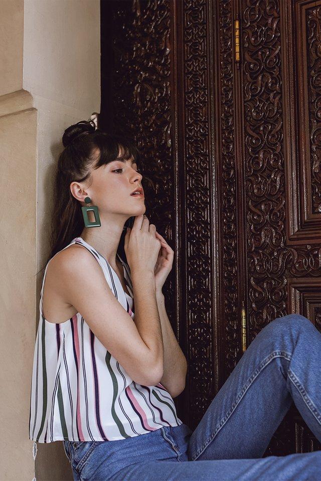 Hana V Neck Top (Stripes)