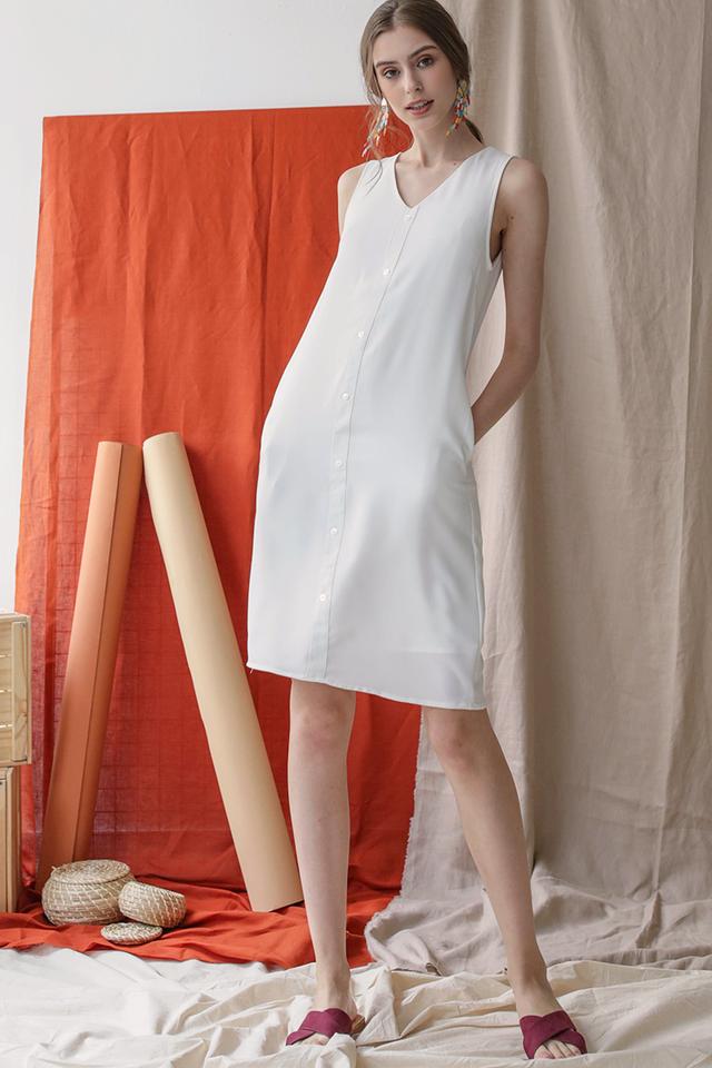 Lumi Button Dress (White)