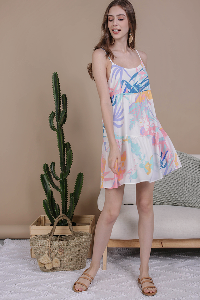 Emmy Tiered Spag Dress (Pastel Tropical)