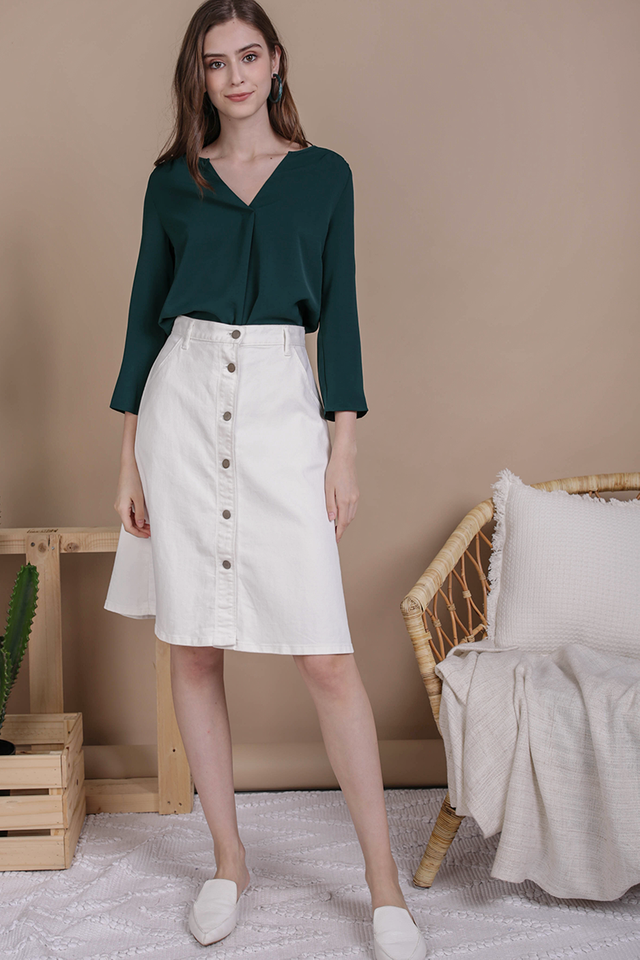 Kerry Origami Blouse (Forest Green)