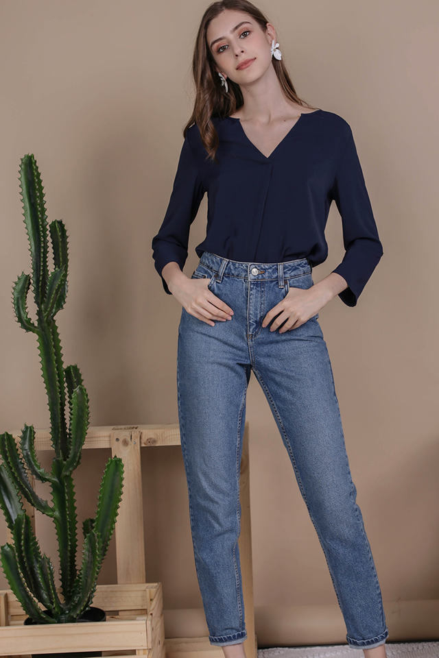 Kerry Origami Blouse (Navy)