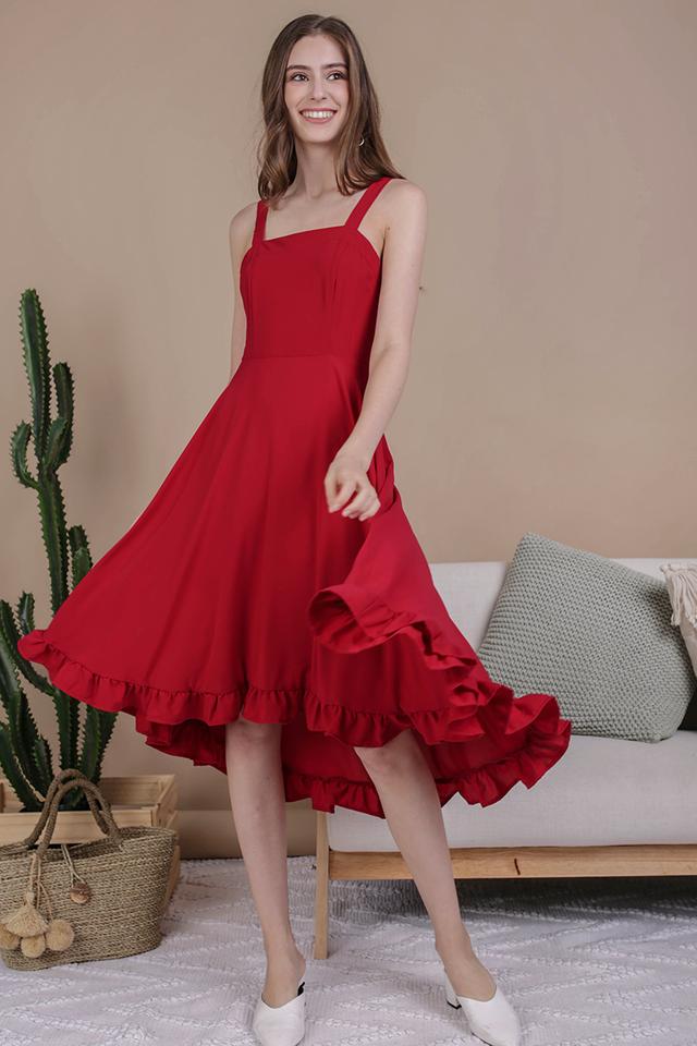 Lea Ruffles Hem Dress (Cherry)