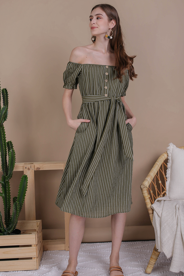 Loren Off Shoulder Midi (Olive Stripes)