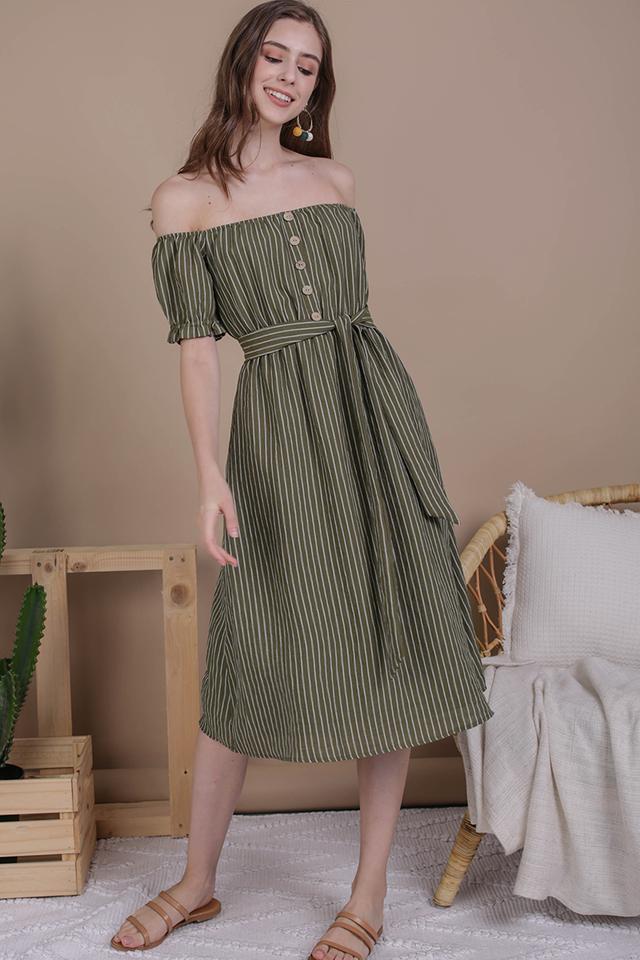 Loren Off Shoulder Midi (Olive Stripes)