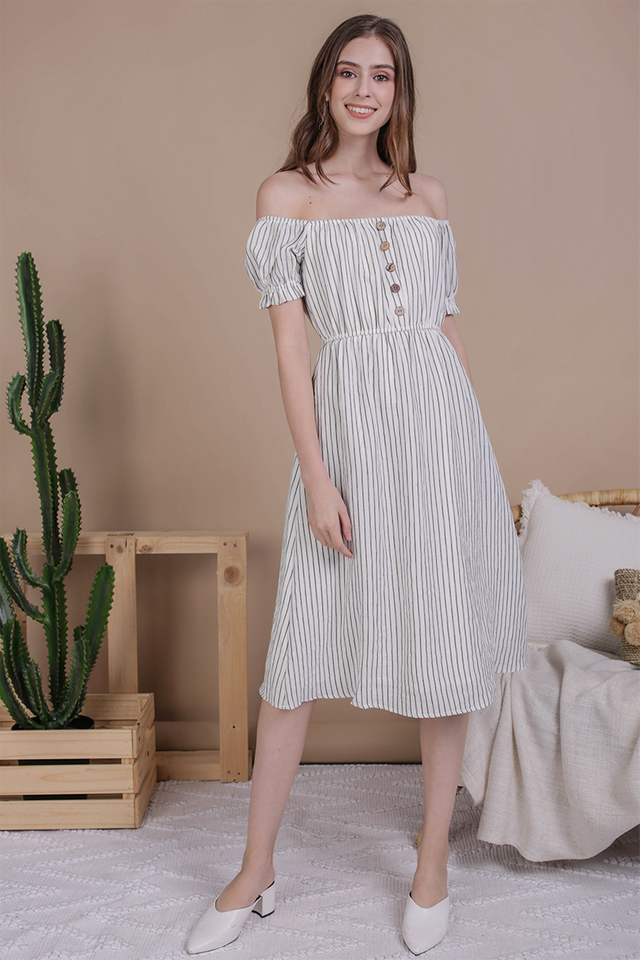 Loren Off Shoulder Midi (White Stripes)