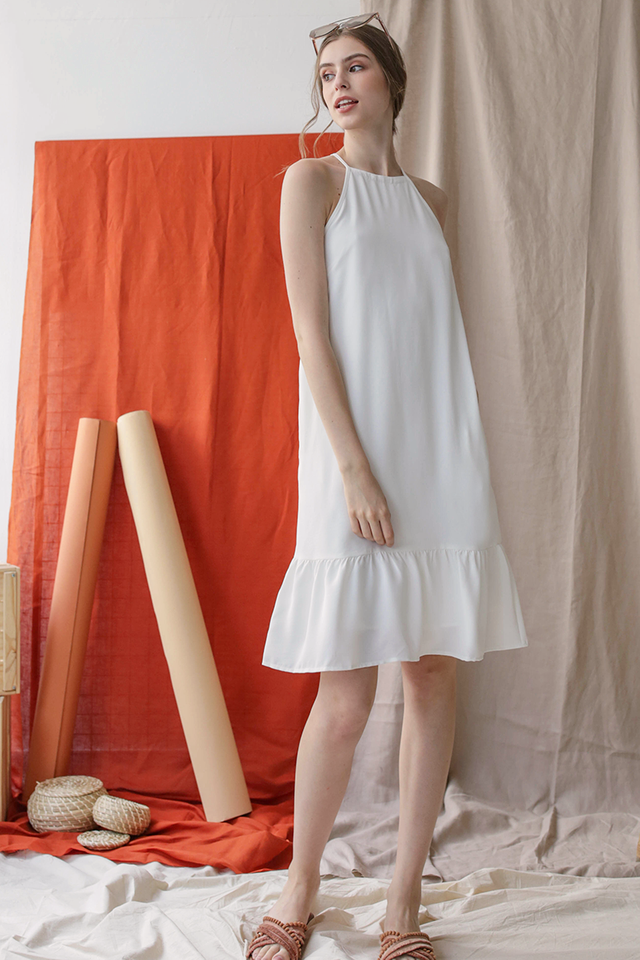 Gina Drop Hem Dress (White)