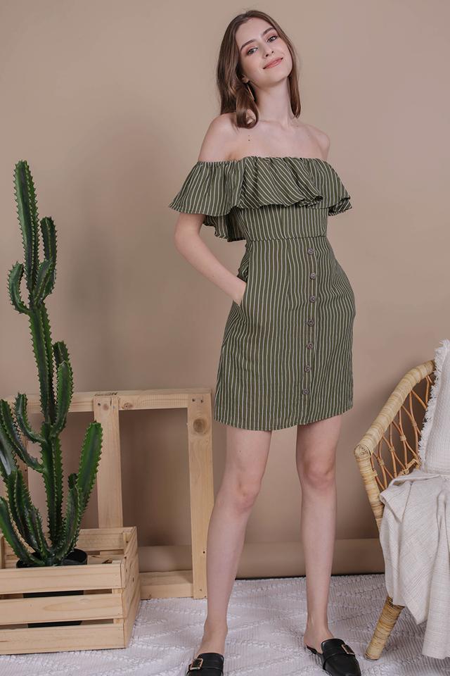 Viola Off Shoulder Dress (Olive Stripes)