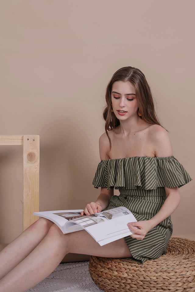 Viola Off Shoulder Dress (Olive Stripes)