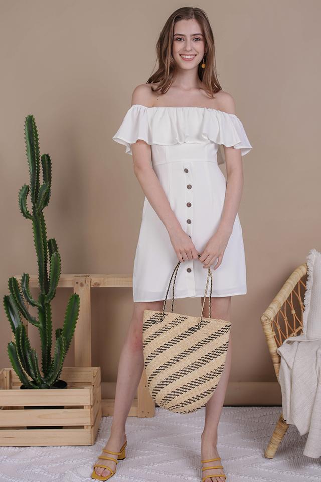 Viola Off Shoulder Dress (White)