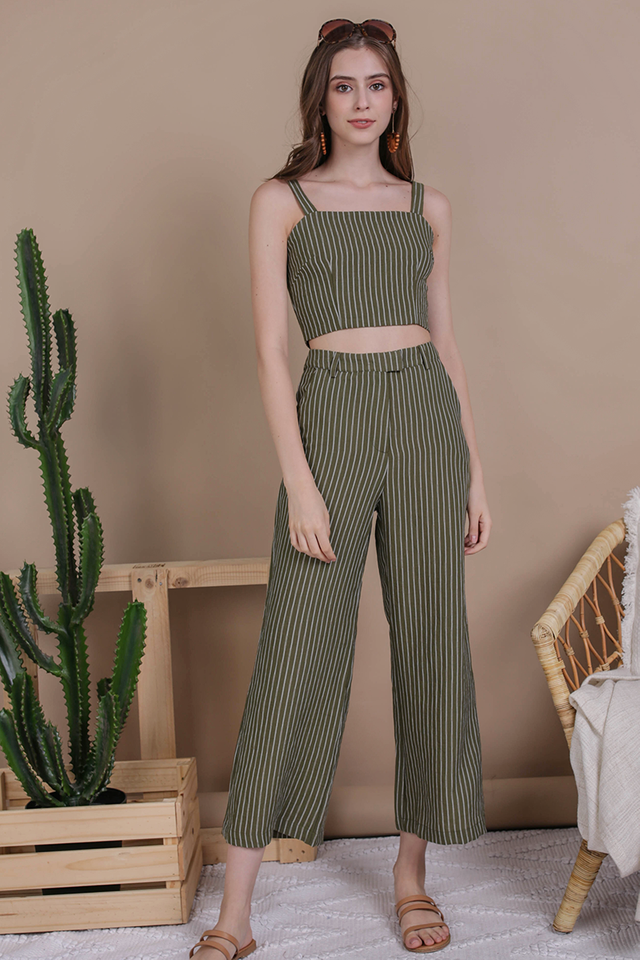 Jodi Tailored Pants (Olive Stripes)