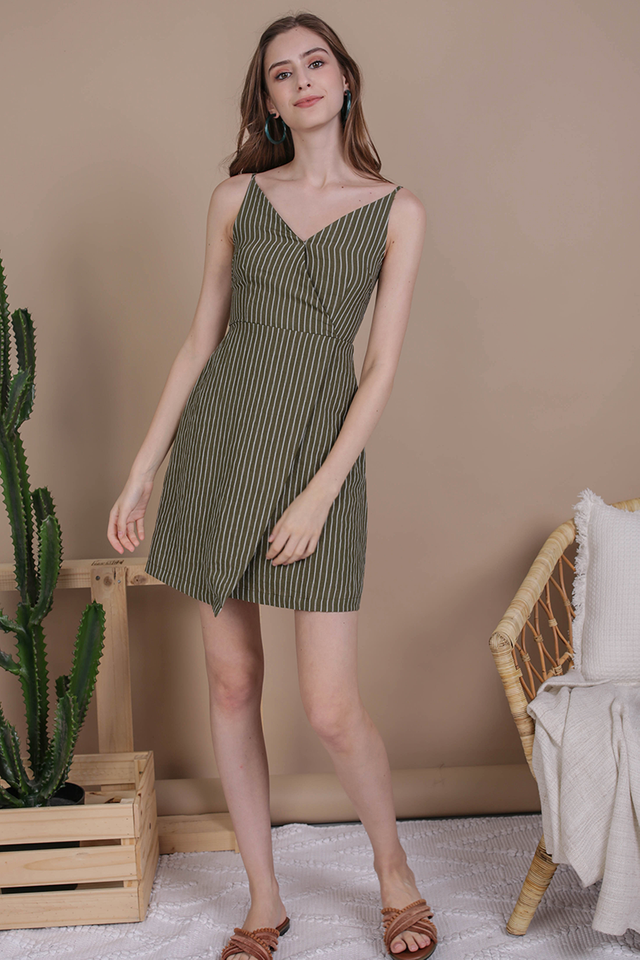 Sammy Wrap Front Dress (Olive Stripes)