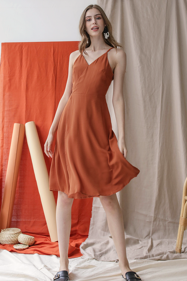 Dora Wrap Front Dress (Tangerine)