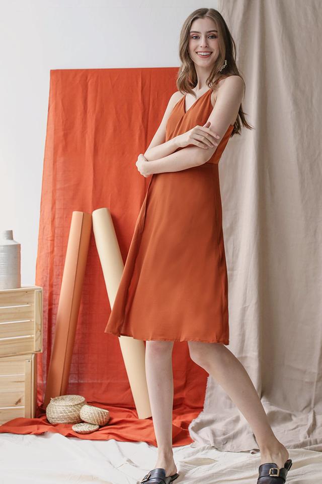 Dora Wrap Front Dress (Tangerine)