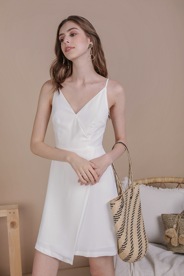 Sammy Wrap Front Dress (White)