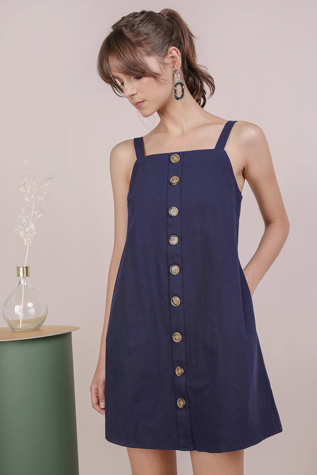 Shania Button Down Dress (Navy)
