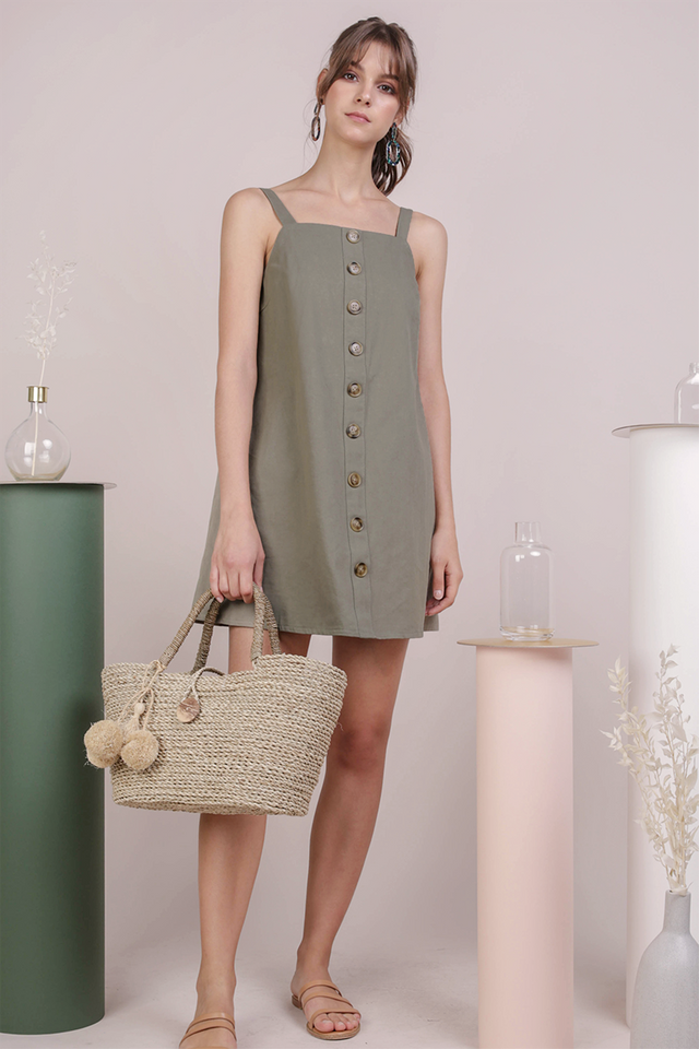 Shania Button Down Dress (Muted Olive)