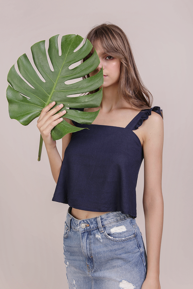 Jess Flutter Top (Navy)