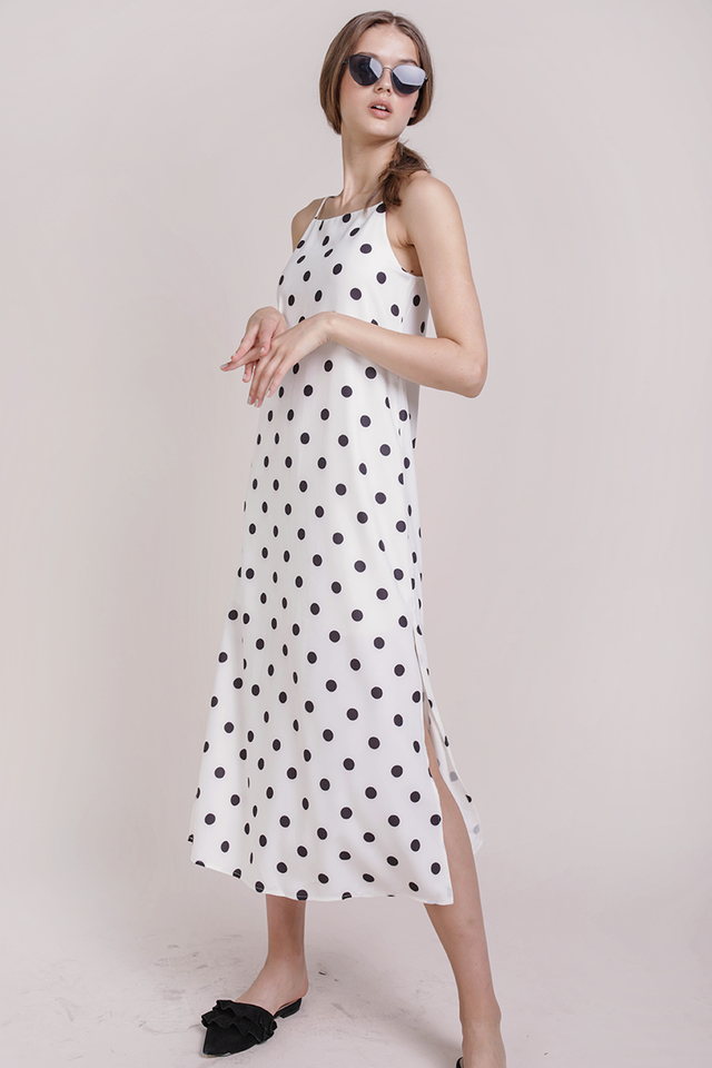 Taye Midi Dress (White Dots)