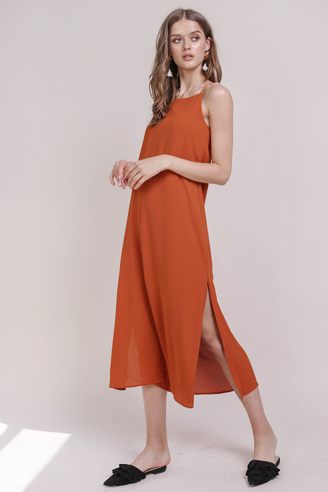 Taye Midi Dress (Tangerine)