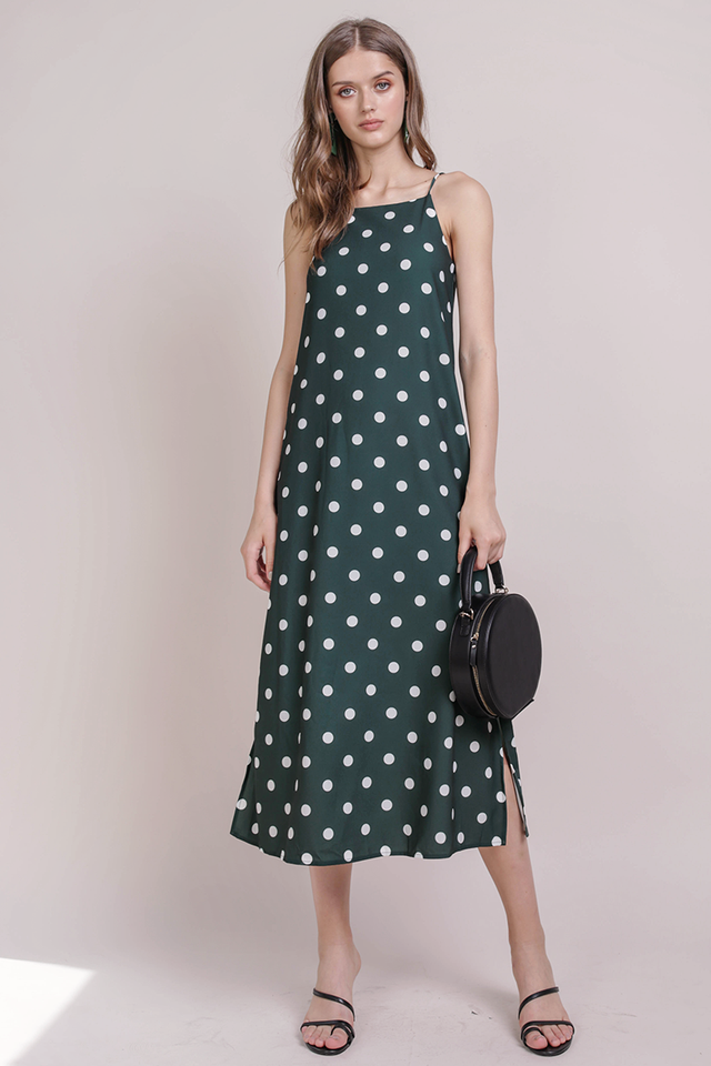 Taye Midi Dress (Forest Dots)