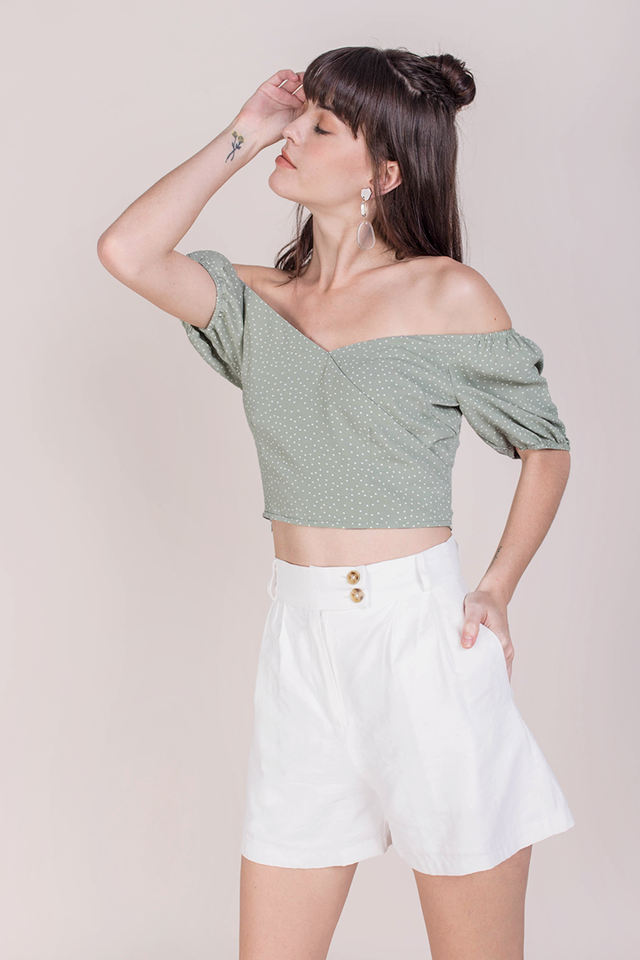 Ace Off Shoulder Top (Green Dots)