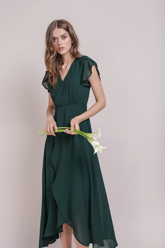 Aria Wrap Front Chiffon Maxi (Forest Green)