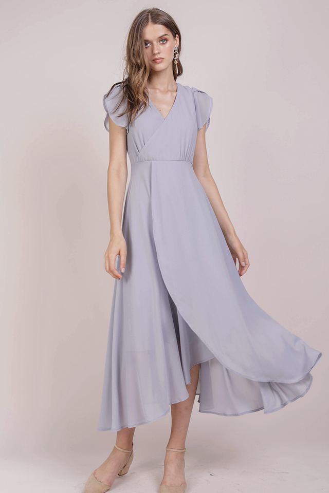 Batch 2- Aria Wrap Front Chiffon Maxi (Dove Grey)