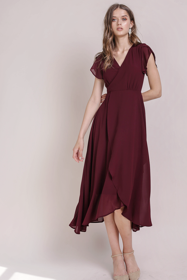 Batch 6- Aria Wrap Front Chiffon Maxi (Wine Red)