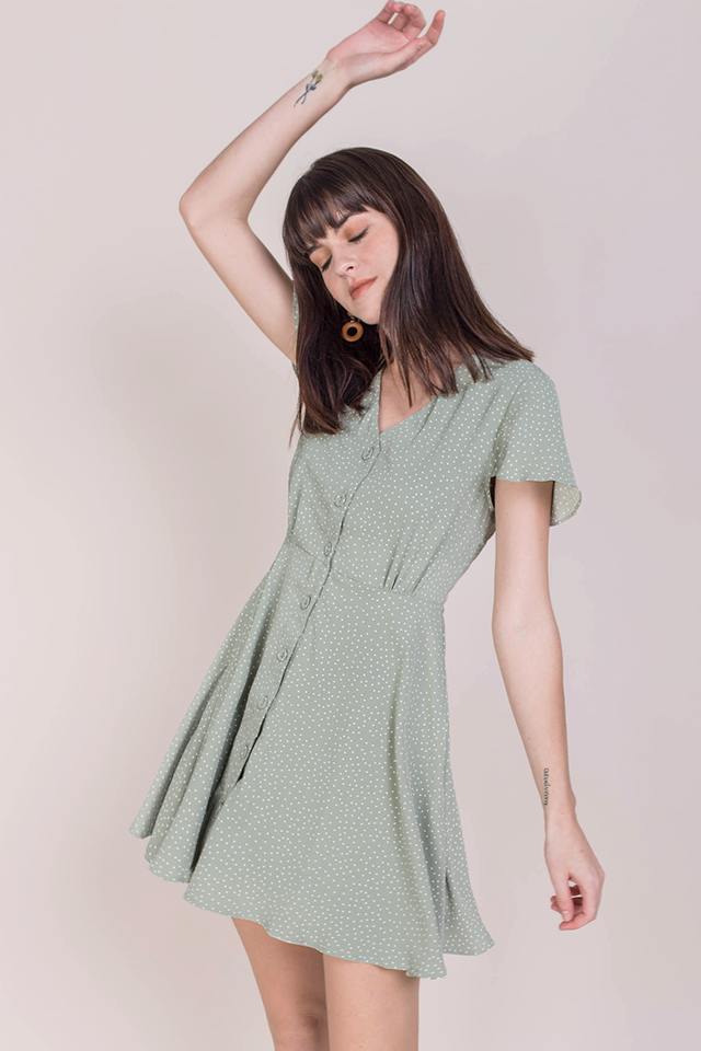 Pris Button Down Dress (Green Dots)