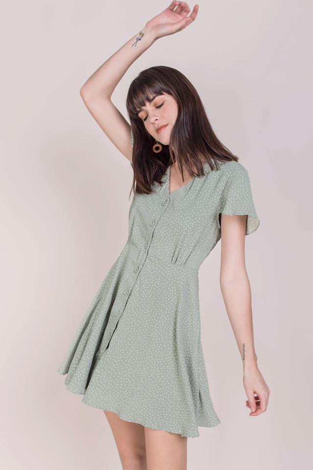 Pris Button Down Dress (Green Dots)