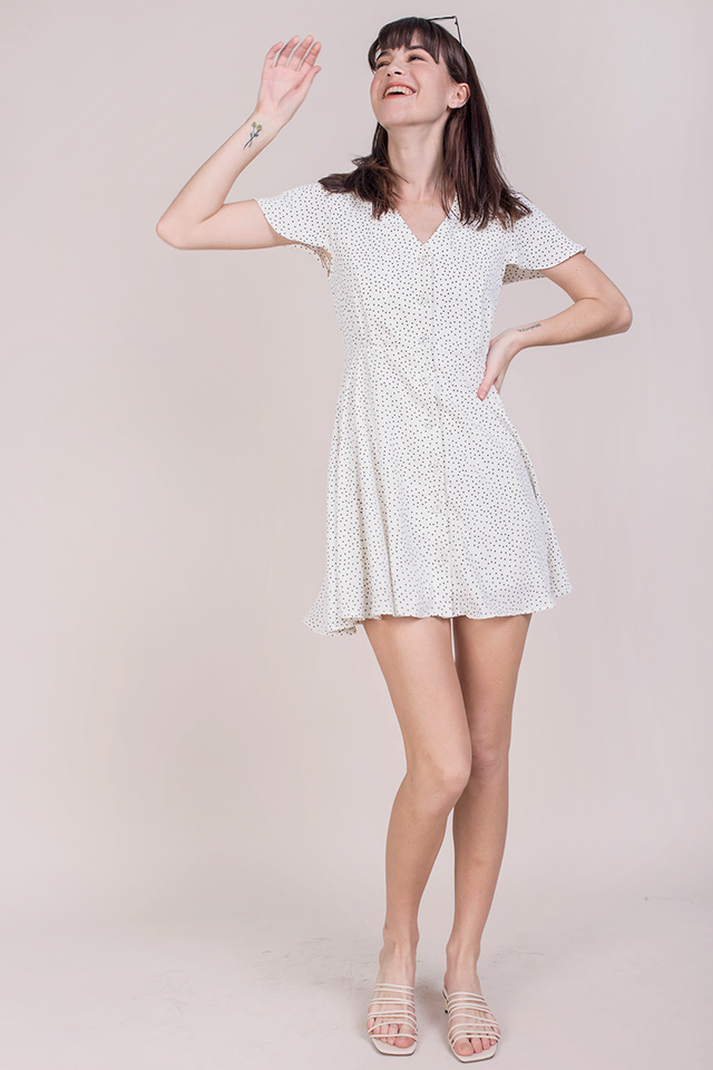 Pris Button Down Dress (White Dots)