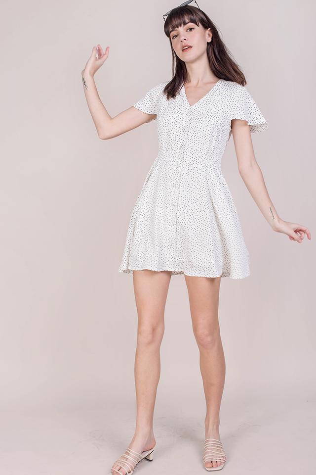 Pris Button Down Dress (White Dots)