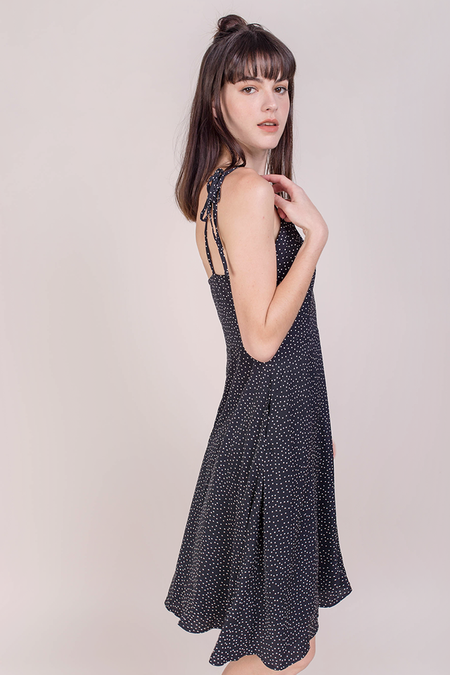 Tess Midi Dress (Black Dots)