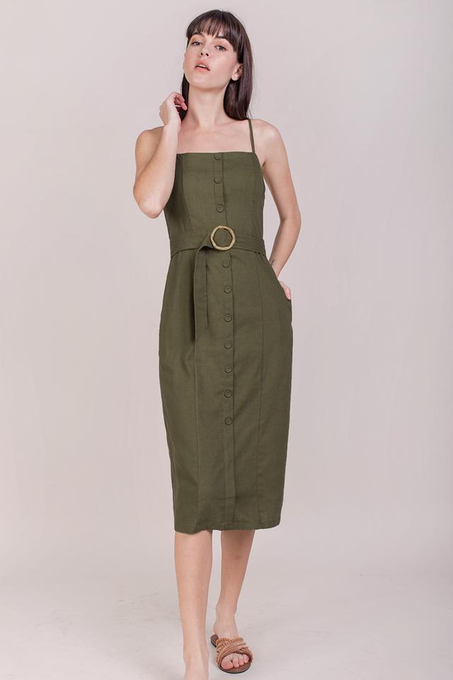 Kin Buckle Midi Dress (Olive)