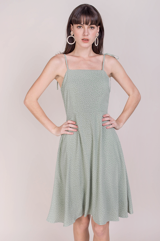 Tess Midi Dress (Green Dots)