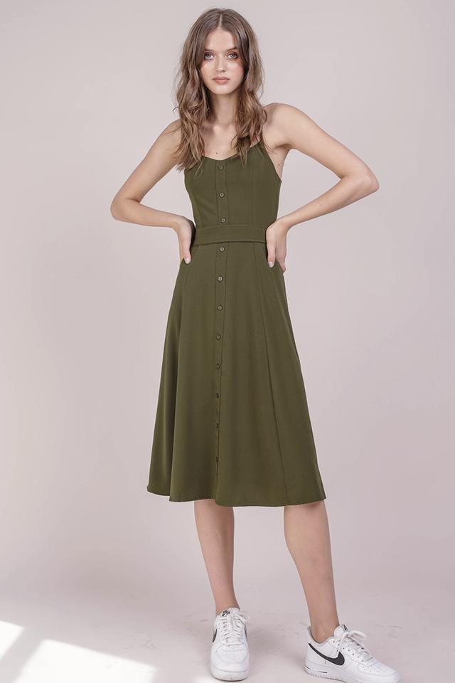 Izzy V Neck Midi Dress (Olive)