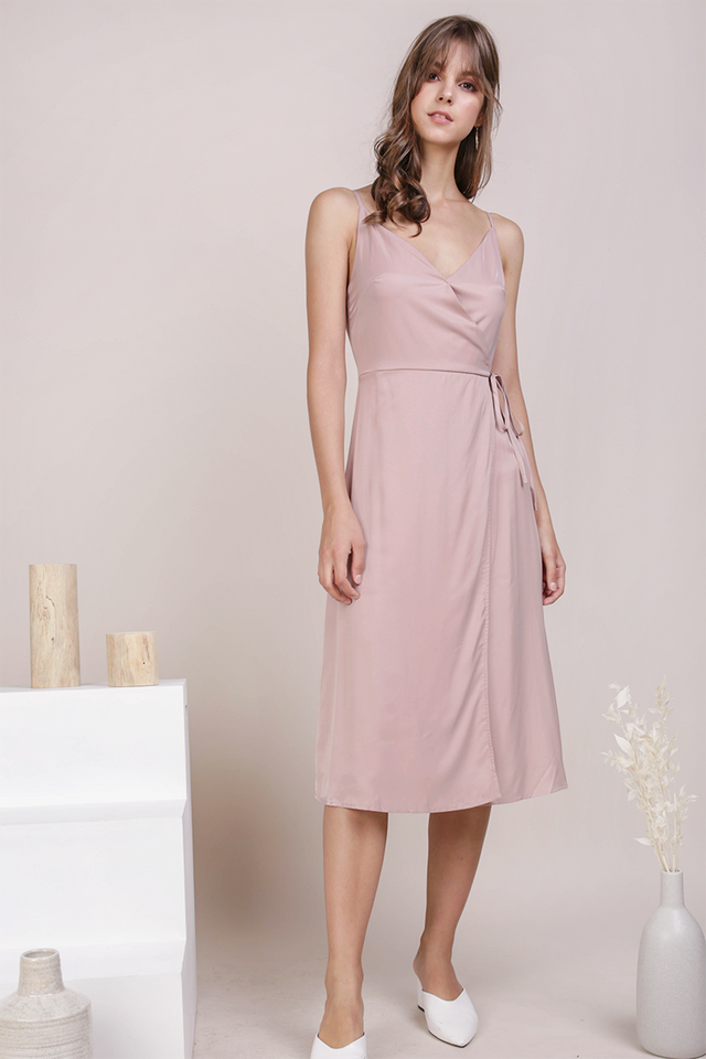 Wanda Wrap Front Dress (Dusty Pink)